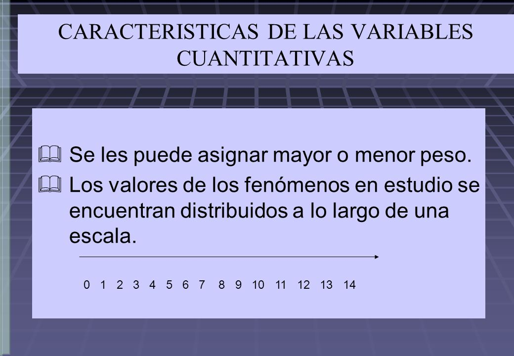 CARACTERISTICAS DE LAS VARIABLES CUANTITATIVAS