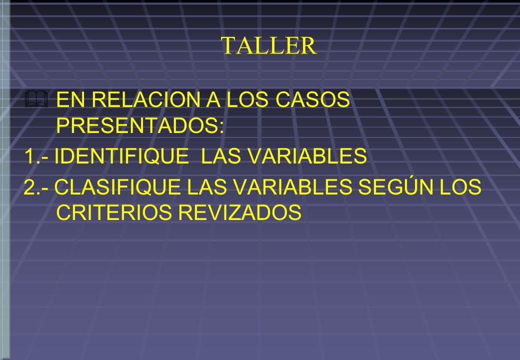 TALLER EN RELACION A LOS CASOS PRESENTADOS: