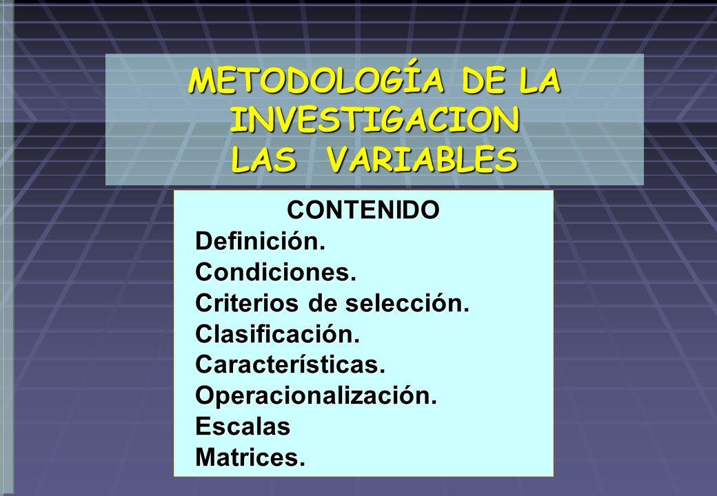 METODOLOGÍA DE LA INVESTIGACION LAS VARIABLES