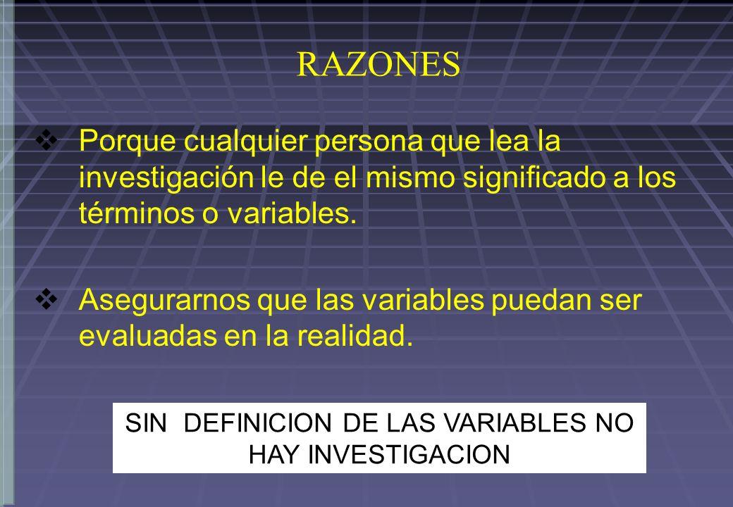 SIN DEFINICION DE LAS VARIABLES NO HAY INVESTIGACION