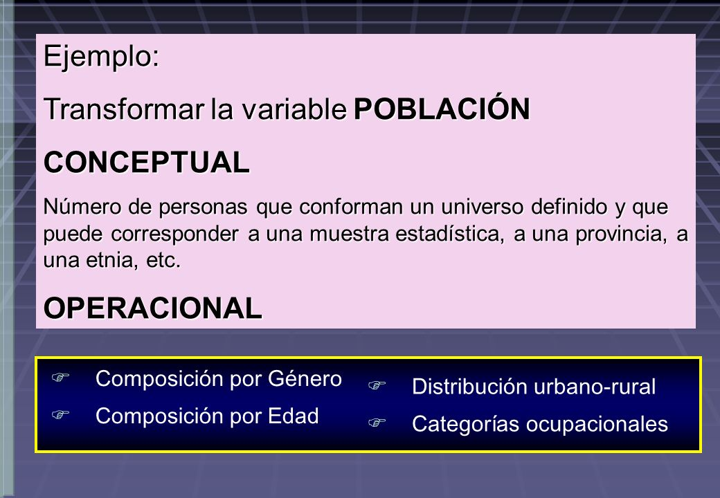 Transformar la variable POBLACIÓN CONCEPTUAL