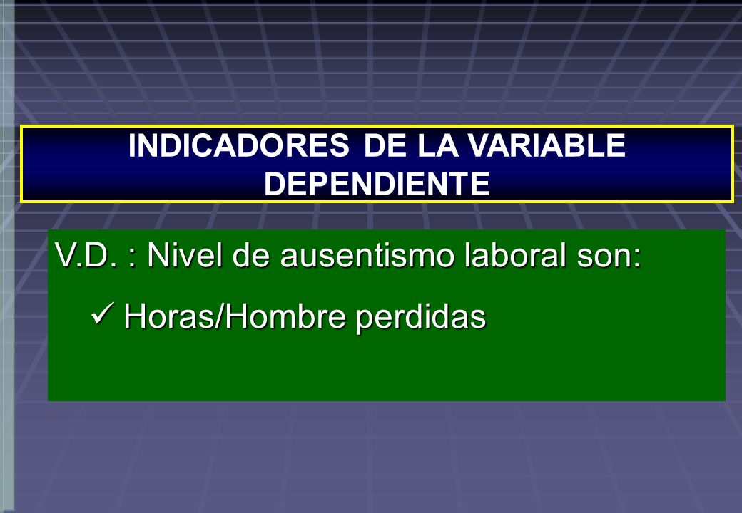 INDICADORES DE LA VARIABLE DEPENDIENTE