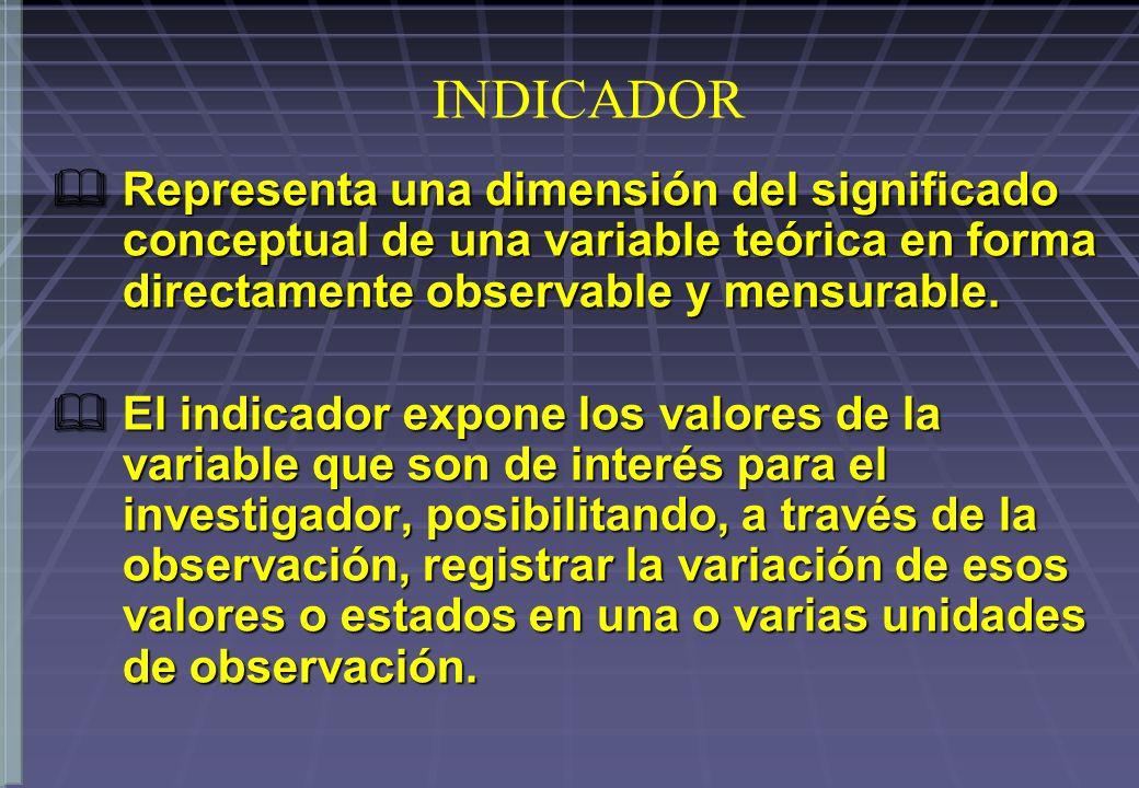 INDICADOR Representa una dimensión del significado conceptual de una variable teórica en forma directamente observable y mensurable.