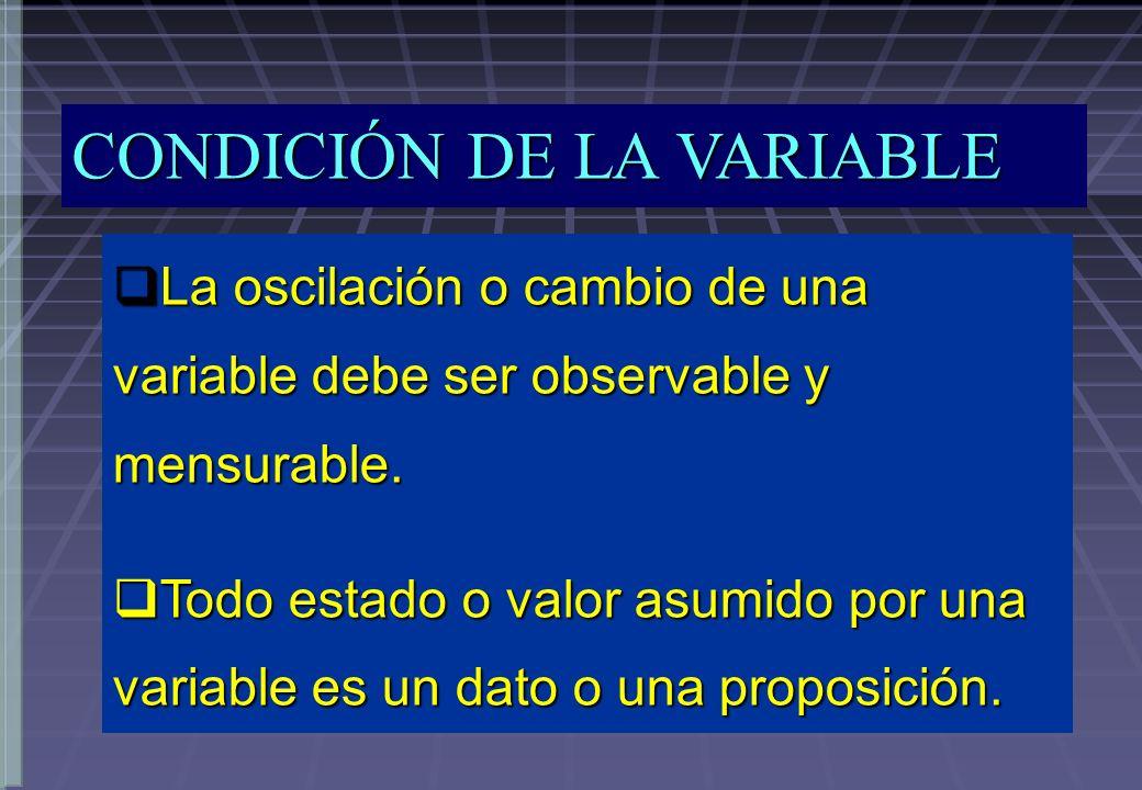 CONDICIÓN DE LA VARIABLE