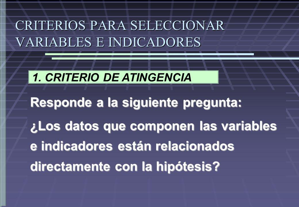 CRITERIOS PARA SELECCIONAR VARIABLES E INDICADORES