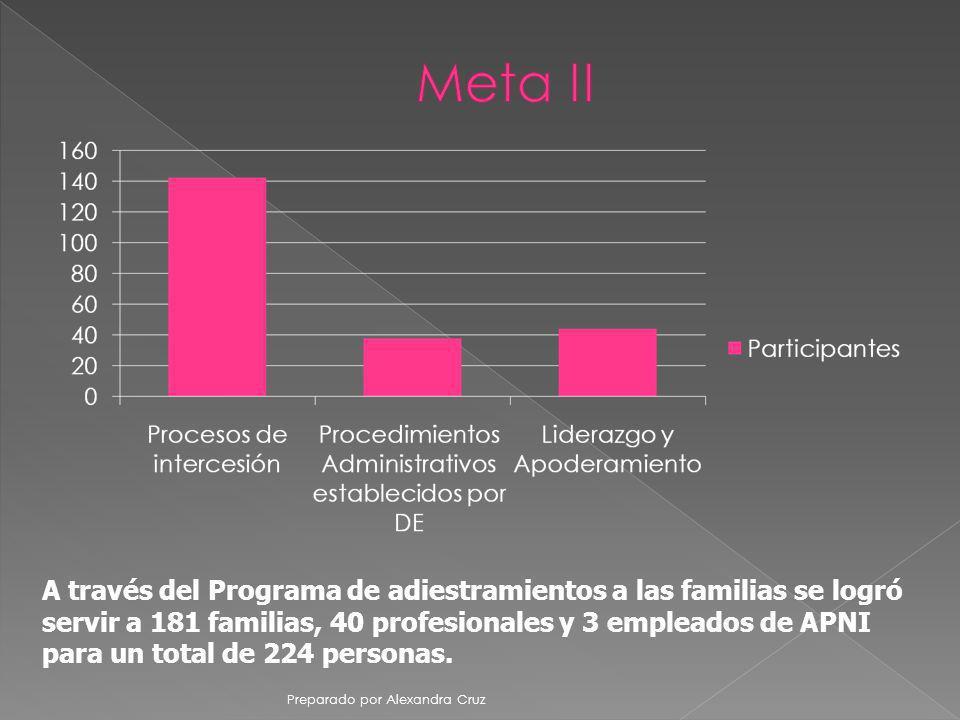 Meta II A través del Programa de adiestramientos a las familias se logró servir a 181 familias, 40 profesionales y 3 empleados de APNI.
