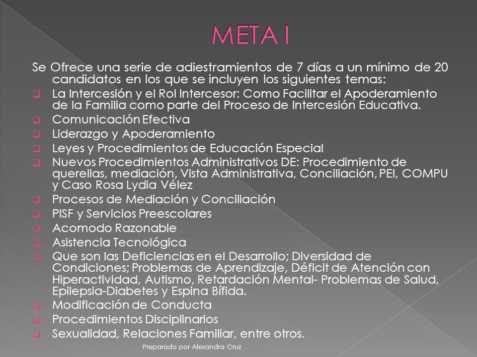 META I Se Ofrece una serie de adiestramientos de 7 días a un mínimo de 20 candidatos en los que se incluyen los siguientes temas: