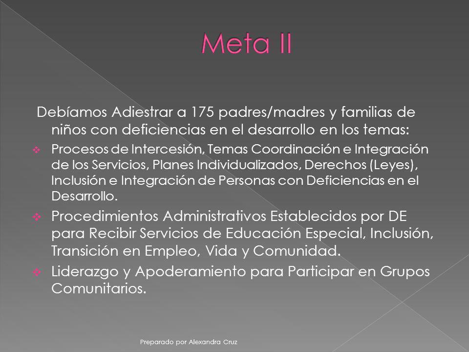 Meta II Debíamos Adiestrar a 175 padres/madres y familias de niños con deficiencias en el desarrollo en los temas: