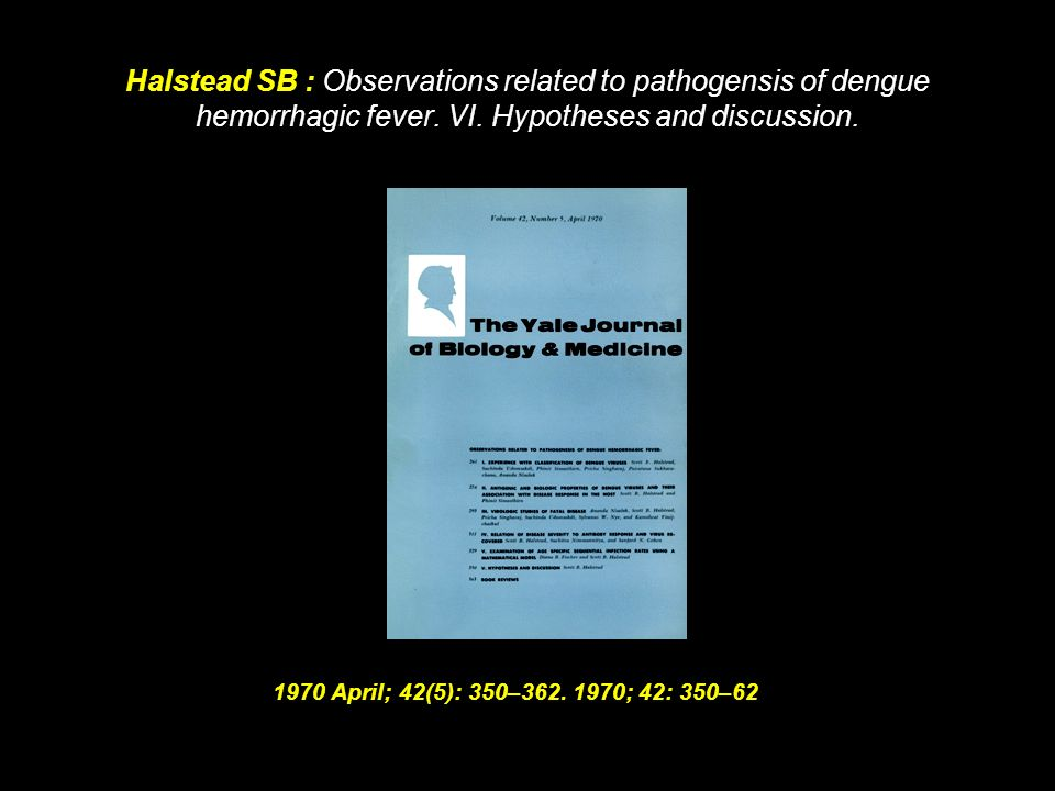 Halstead SB : Observations related to pathogensis of dengue hemorrhagic fever. VI. Hypotheses and discussion.