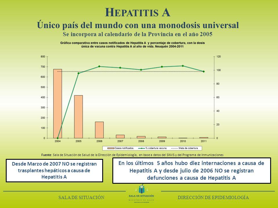 Hepatitis A Único país del mundo con una monodosis universal Se incorpora al calendario de la Provincia en el año 2005