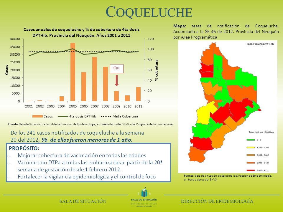 Coqueluche Mapa: tasas de notificación de Coqueluche. Acumulado a la SE 46 de 2012. Provincia del Neuquén por Área Programática.