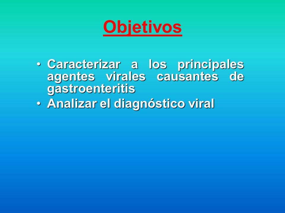 Objetivos Caracterizar a los principales agentes virales causantes de gastroenteritis.