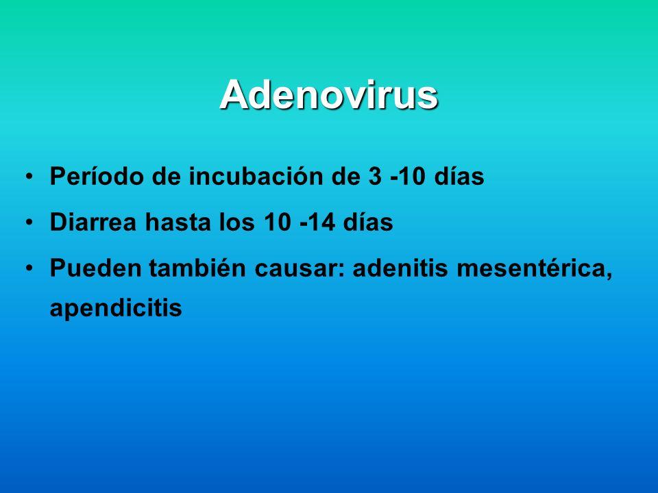 Adenovirus Período de incubación de 3 -10 días
