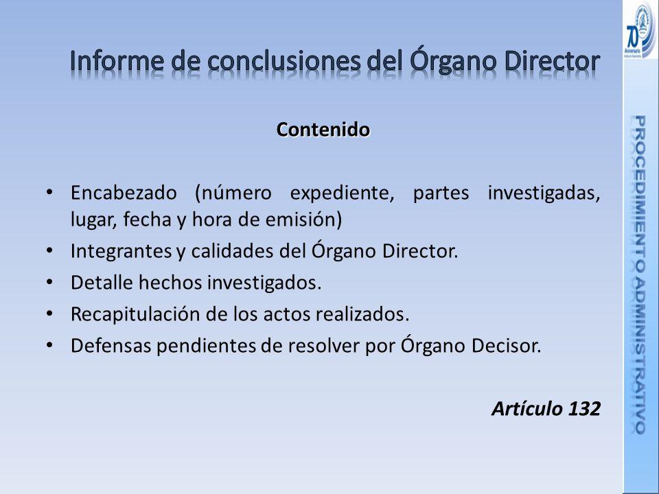 Informe de conclusiones del Órgano Director