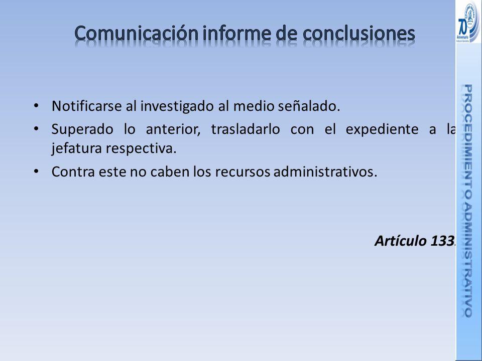 Comunicación informe de conclusiones
