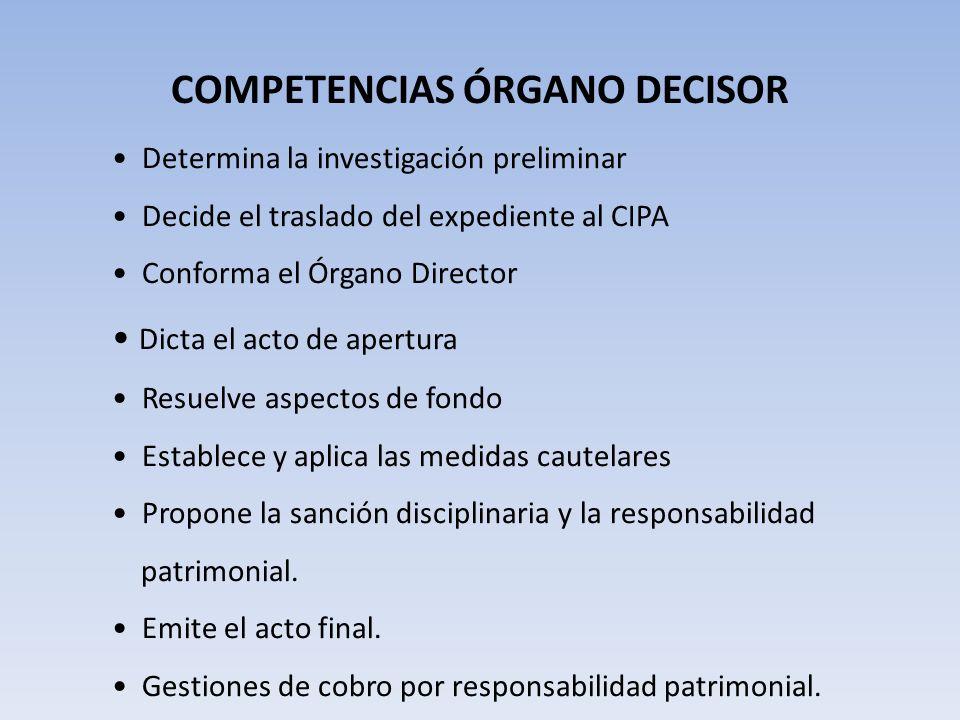 COMPETENCIAS ÓRGANO DECISOR