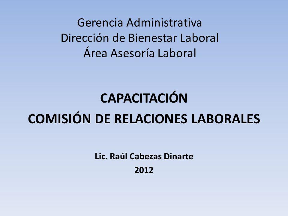 COMISIÓN DE RELACIONES LABORALES Lic. Raúl Cabezas Dinarte