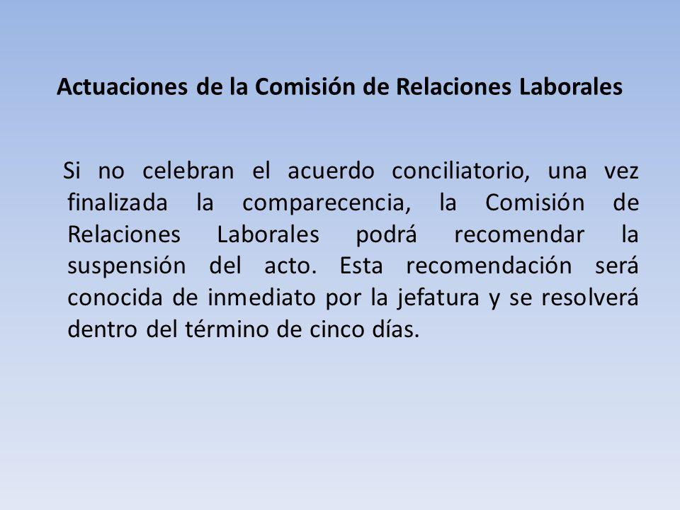 Actuaciones de la Comisión de Relaciones Laborales