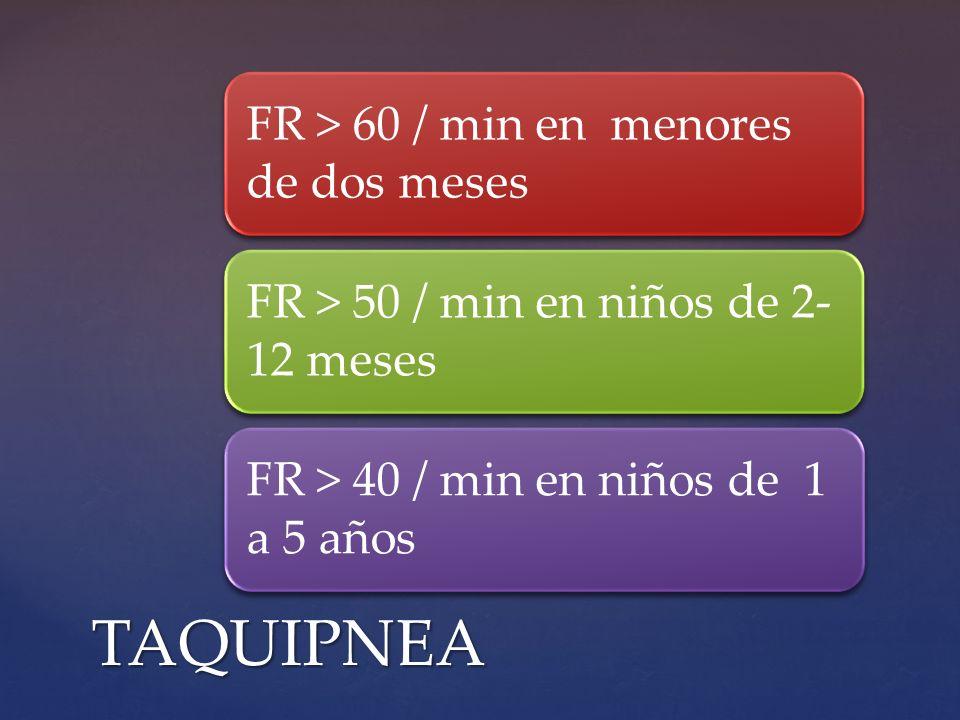 TAQUIPNEA FR > 60 / min en menores de dos meses