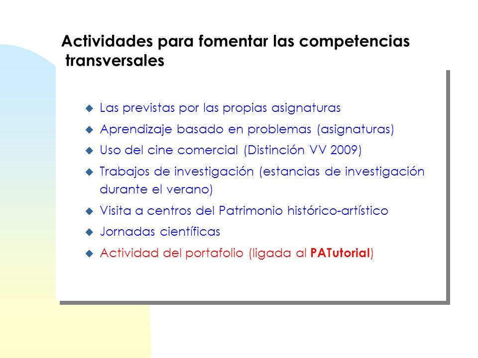 Actividades para fomentar las competencias transversales