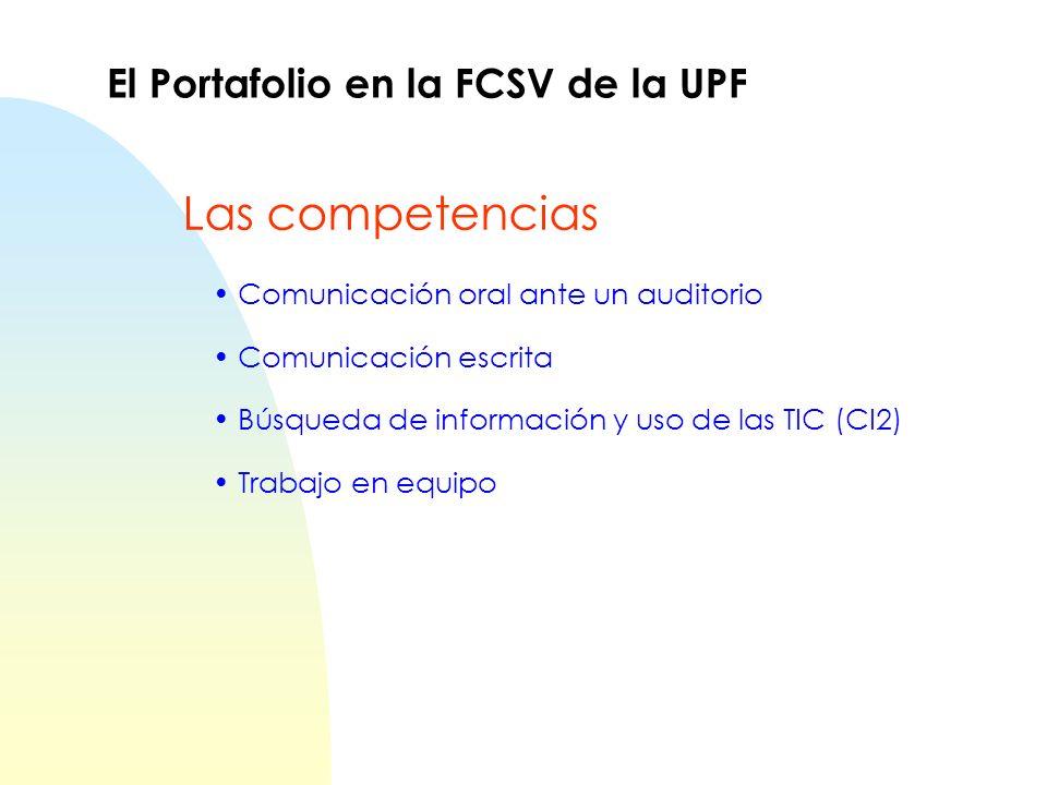Las competencias El Portafolio en la FCSV de la UPF