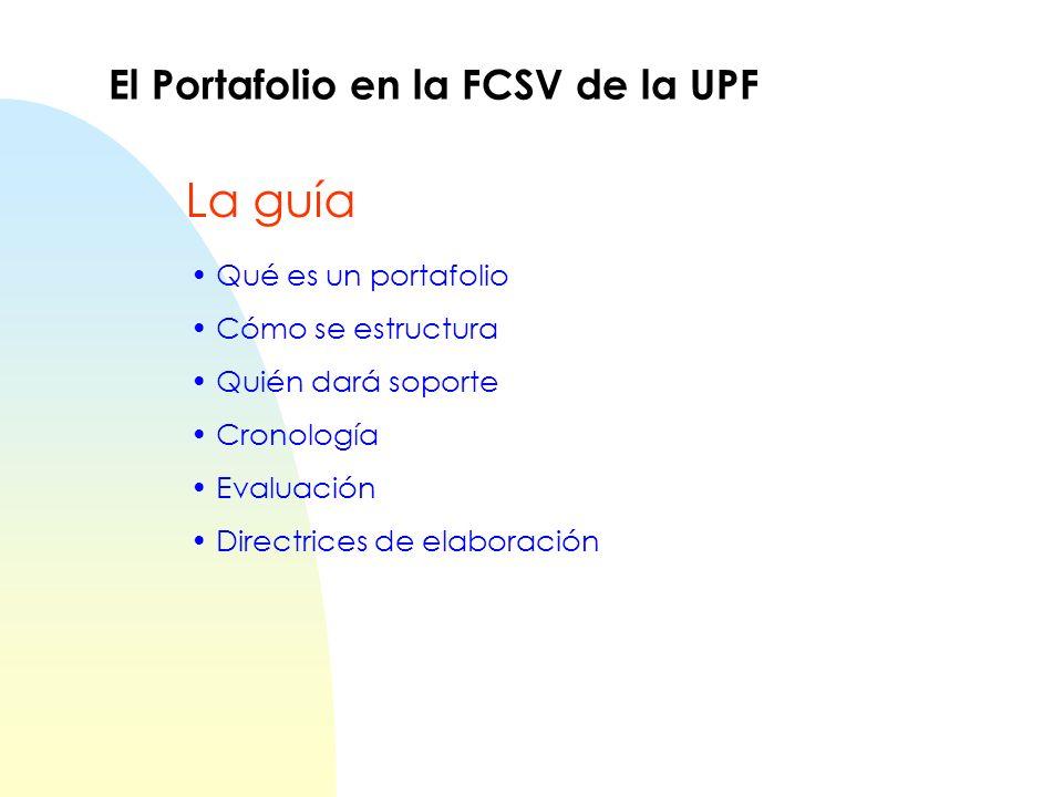 La guía El Portafolio en la FCSV de la UPF Qué es un portafolio