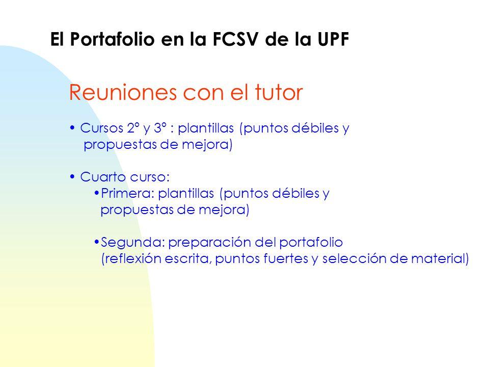 Reuniones con el tutor El Portafolio en la FCSV de la UPF
