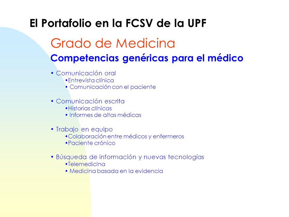 Grado de Medicina El Portafolio en la FCSV de la UPF