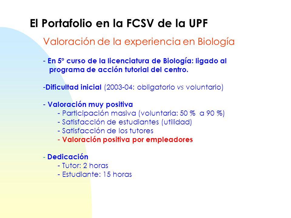 El Portafolio en la FCSV de la UPF