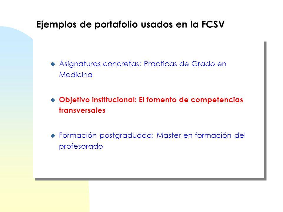 Ejemplos de portafolio usados en la FCSV