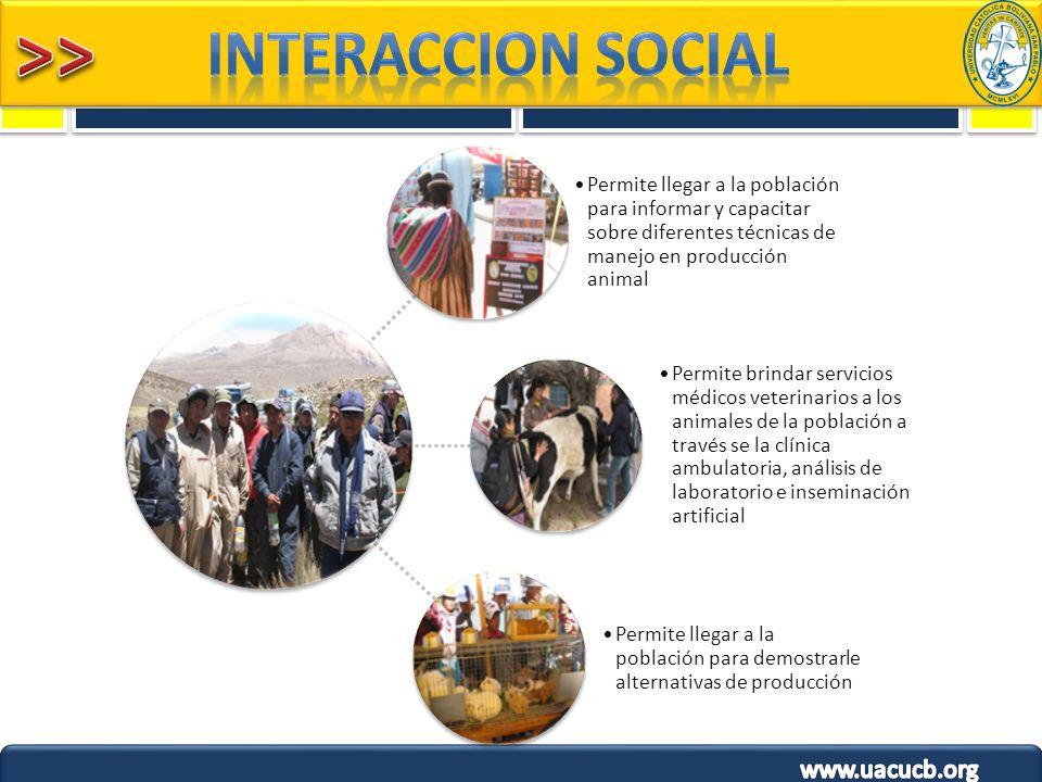 INTERACCION SOCIAL Permite llegar a la población para informar y capacitar sobre diferentes técnicas de manejo en producción animal.