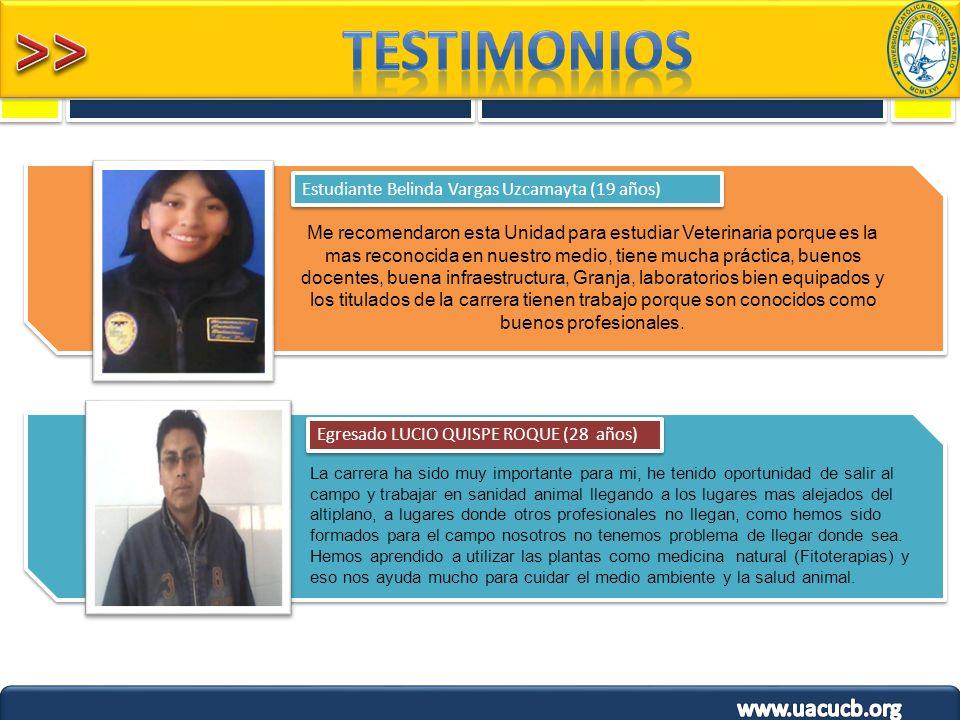 TESTIMONIOS Estudiante Belinda Vargas Uzcamayta (19 años)