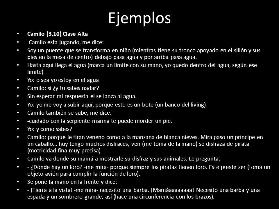 Ejemplos Camilo (3,10) Clase Alta Camilo esta jugando, me dice: