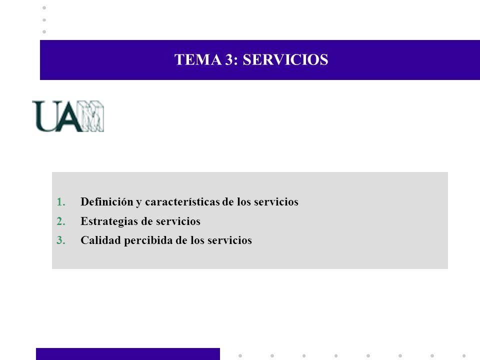 TEMA 3: SERVICIOS Definición y características de los servicios