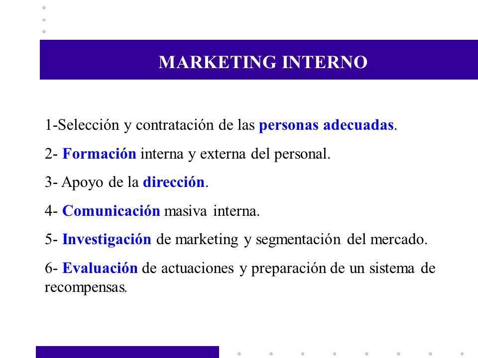 MARKETING INTERNO 1-Selección y contratación de las personas adecuadas. 2- Formación interna y externa del personal.