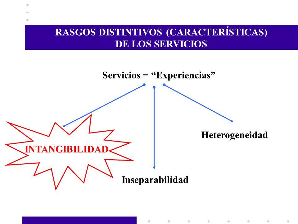 RASGOS DISTINTIVOS (CARACTERÍSTICAS) Servicios = Experiencias