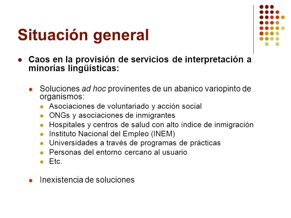 Situación general Caos en la provisión de servicios de interpretación a minorías lingüísticas: