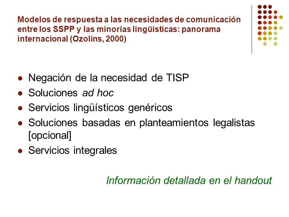 Negación de la necesidad de TISP Soluciones ad hoc