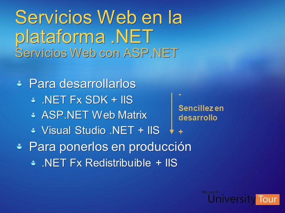 Servicios Web en la plataforma .NET Servicios Web con ASP.NET