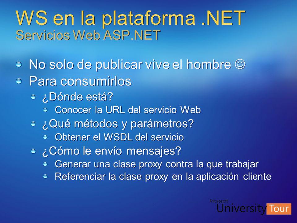 WS en la plataforma .NET Servicios Web ASP.NET