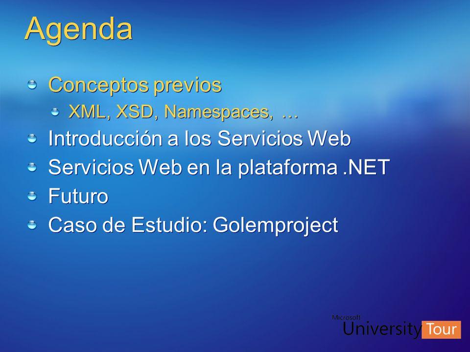 Agenda Conceptos previos Introducción a los Servicios Web