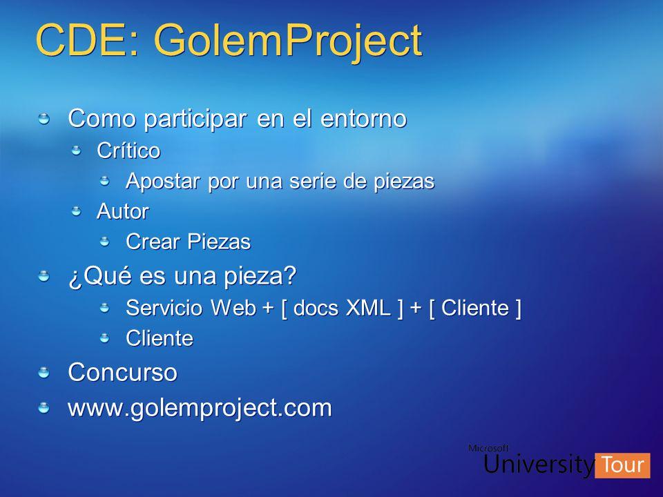 CDE: GolemProject Como participar en el entorno ¿Qué es una pieza