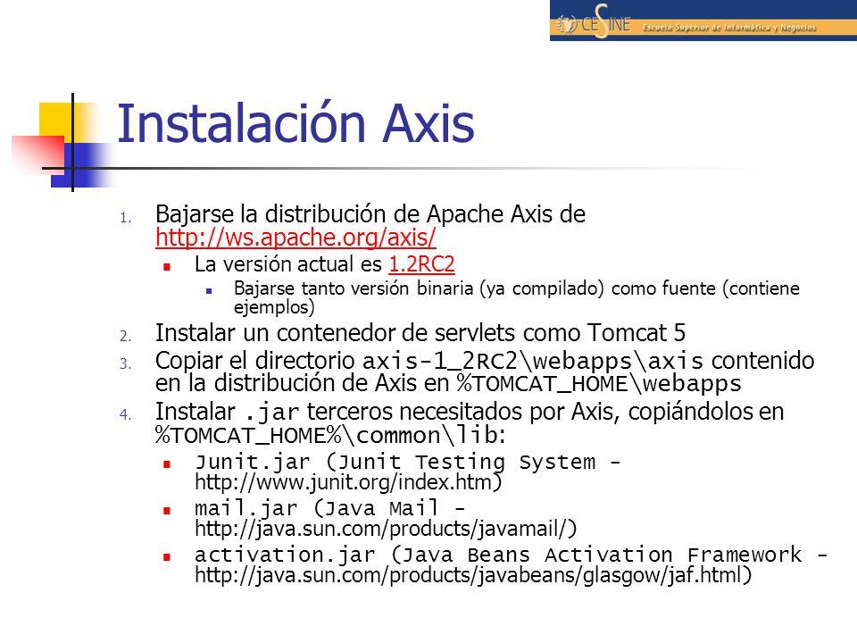 Instalación Axis Bajarse la distribución de Apache Axis de http://ws.apache.org/axis/ La versión actual es 1.2RC2.