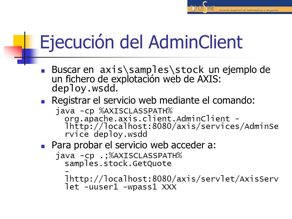 Ejecución del AdminClient