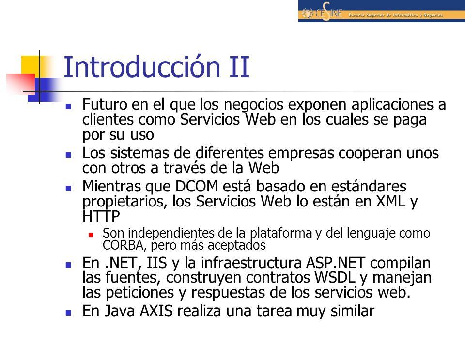 Introducción II Futuro en el que los negocios exponen aplicaciones a clientes como Servicios Web en los cuales se paga por su uso.