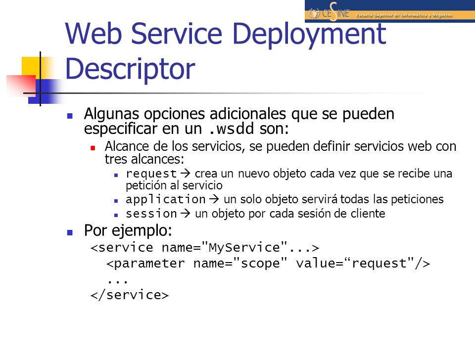 Web Service Deployment Descriptor