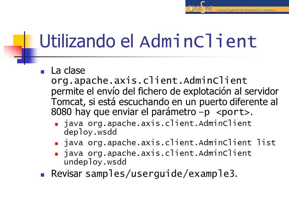 Utilizando el AdminClient