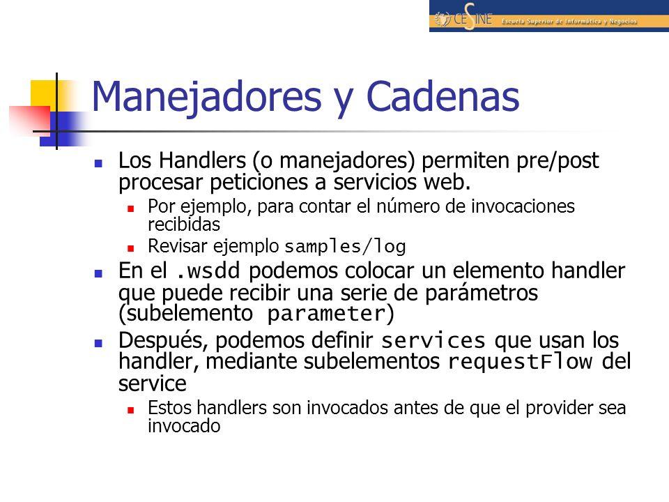 Manejadores y Cadenas Los Handlers (o manejadores) permiten pre/post procesar peticiones a servicios web.