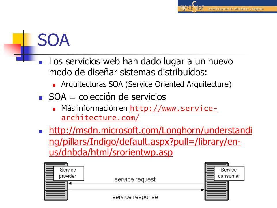 SOA Los servicios web han dado lugar a un nuevo modo de diseñar sistemas distribuídos: Arquitecturas SOA (Service Oriented Arquitecture)