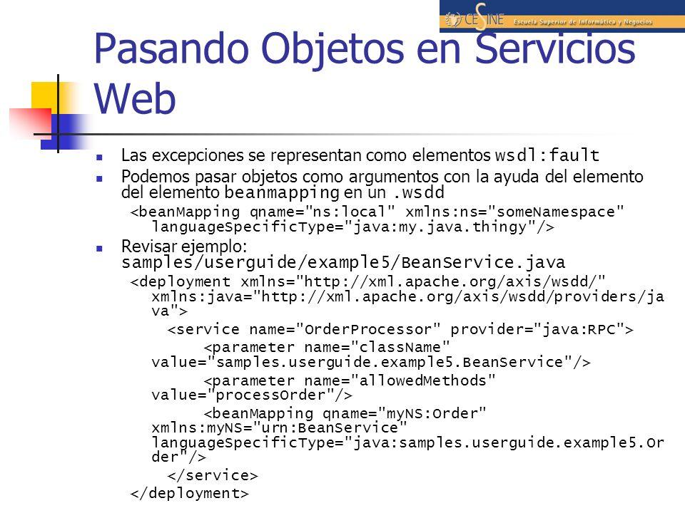 Pasando Objetos en Servicios Web